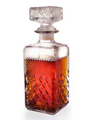 Square crystal bottle with alcohol — Stock Photo
