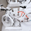 Stock Photo: Mountain Bike Covered by a Lot of Snow