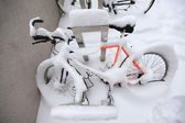 Mountain Bike Covered by a Lot of Snow — Stockfoto