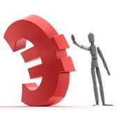 Arrêt brillant rouge symbole de l'euro — Photo
