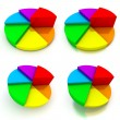 Pie Chart - Four Colourful Views — Stockfoto