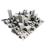 Cityscape Model 3D - with Shadow — Stock Photo