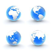 3D Globes in White and Shiny Transparent Blue — Stock Photo