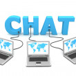 Multiple Wired to Chat — Stock Photo