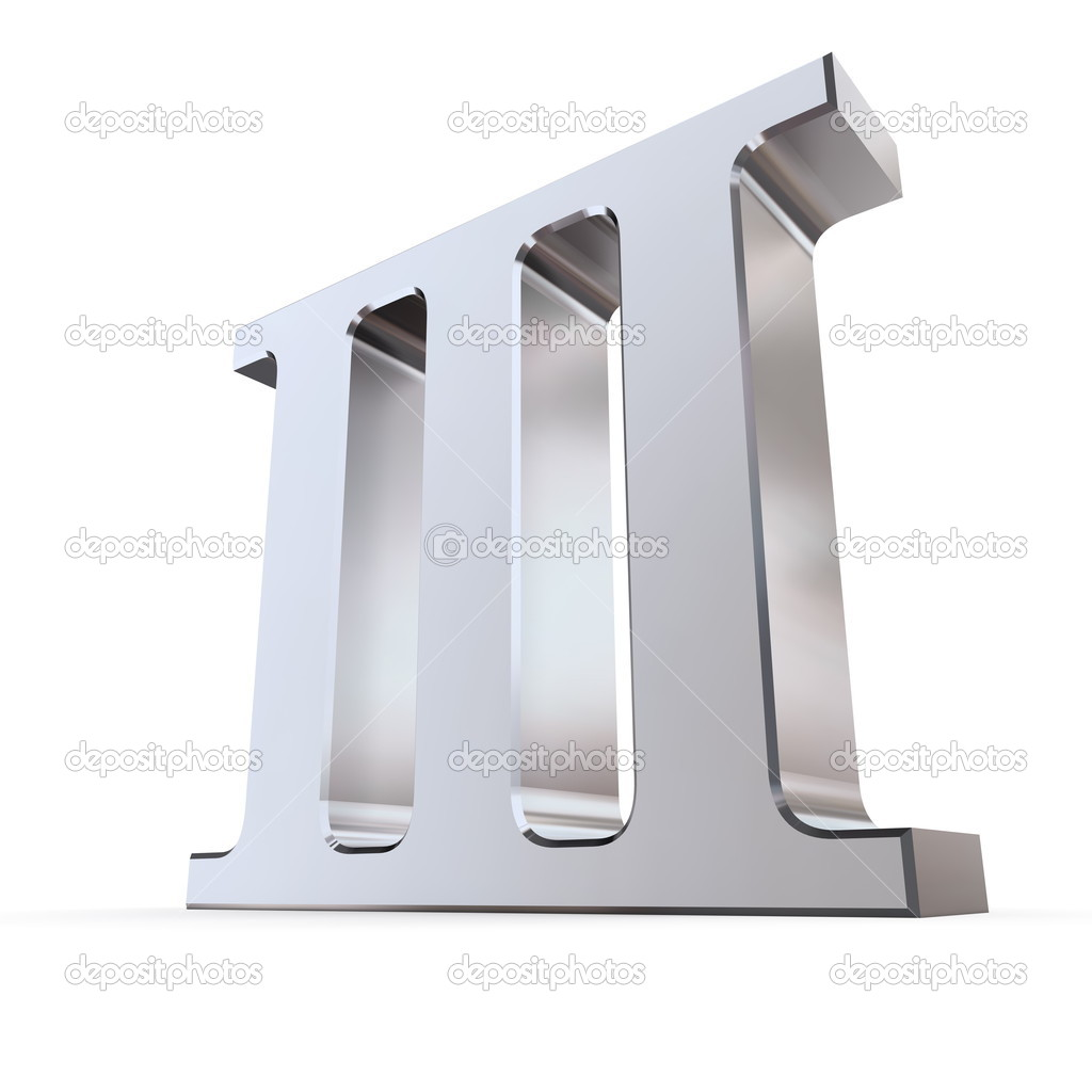 Metallic roman numeral III - shiny number three — Stock Photo #4024549