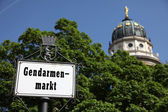 Gendarmenmarkt Signpost and Dome — Stock Photo