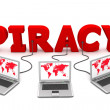 Multiple Wired To Red Piracy — Stock Photo