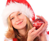 Miss Santa is Holding a Red Christmas Tree Ball — Stock Photo