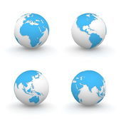 3D Globes in Blue — Stock Photo