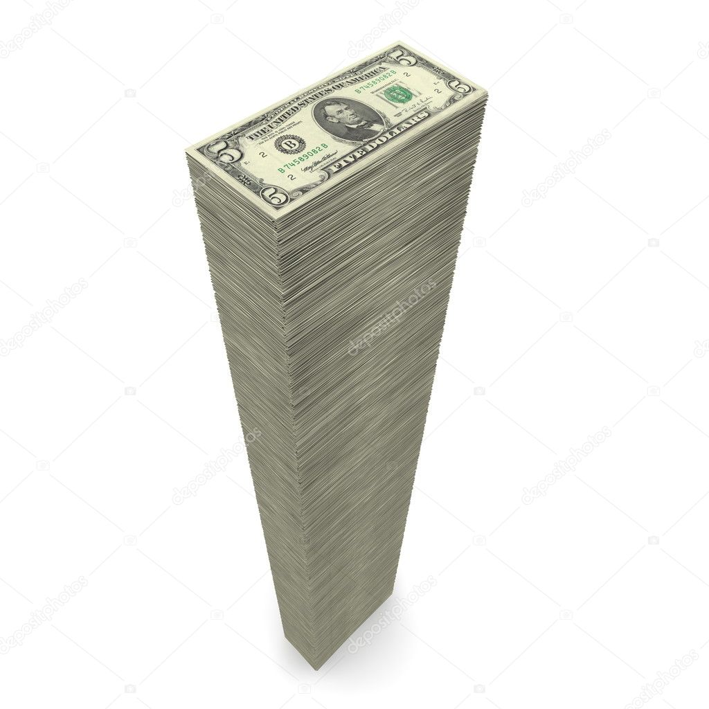Massive money pile of 5 Dollar notes on white background  Stock Photo #4059179