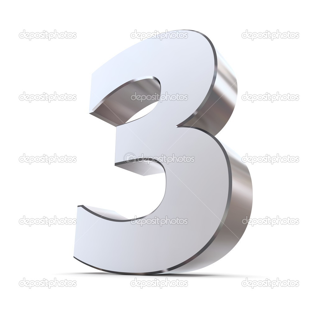 Stock Photo Shiny Number 3