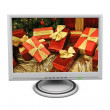 Stock Photo: LCD Flat Screen Monitor Gift Boxes