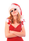 Miss Santa is a Cool Girl — Stock Photo
