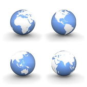 3D Globes in White and Shiny Blue — Stok fotoğraf
