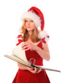 Miss Santa is Doing Paper Work — Stock Photo
