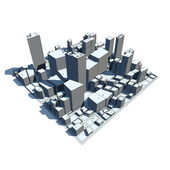 Cityscape Model 3D - Cartoon Syle — Stock Photo