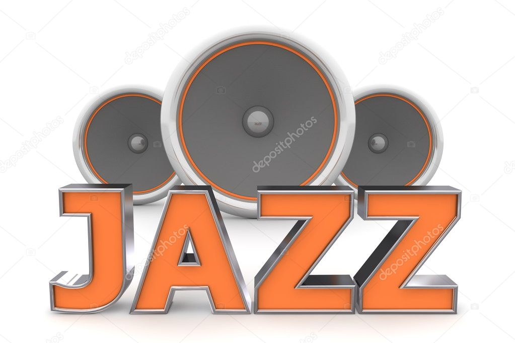 Word Jazz with three speakers in background - orange style — Stock Photo #4080844
