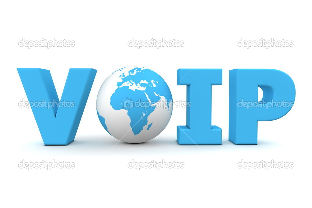 Blue word VoIP with 3D globe replacing letter O — Stock Photo #4089944