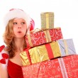 Miss Santa is Carrying Gift Boxes — Stock Photo