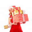 Miss Santa is Loosing One Golden Gift Box — Stock Photo