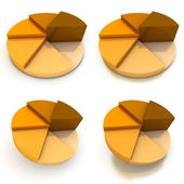 Pie Chart - Four Orange-Brown Views — ストック写真