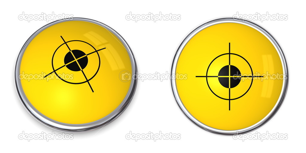 Yellow button with black cross hair - top and side view — Stock Photo #4898392