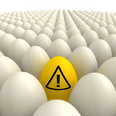 Field of Eggs - One Yellow Attention Sign Egg — Stock Photo