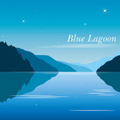 Blue lagoon background vector with mountains — Stock Vector