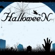 Blue halloween card or cemetery background - Stock Vector