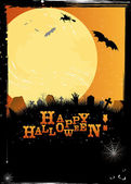 Halloween invitation or card in orange design — Stock Vector
