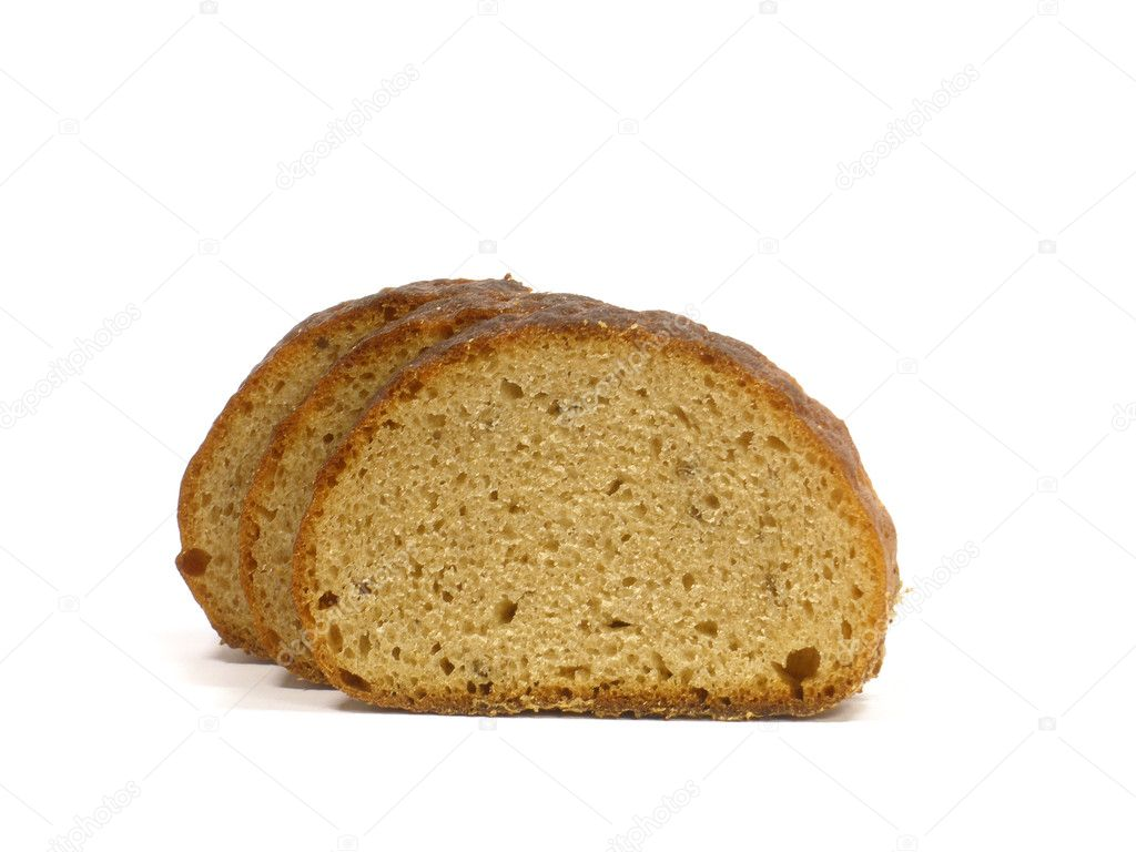 Bread slices on the white isolate background    — Stock Photo #4326823