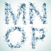 Alphabet water drop MNOP — Stock Vector