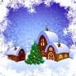 Christmas card with fairytale houses - Stock Vector