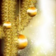 Stock Vector: Christmas background with golden tinsel and fir balls