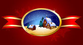 Christmas background with landscape — Stock Vector