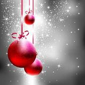 Zilveren Kerstmis achtergrond met red fir ballen — Stockvector