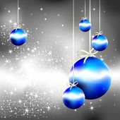 Silver christmas background with blue fir balls, — Stock Vector