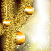 Christmas background with golden tinsel and fir balls — Stok Vektör