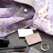 Decorative composition consisting of cosmetics and jewell - Stock Photo