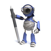 Robot with a stylus — Stock Photo