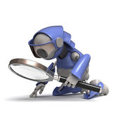 Robot with magnifying glass — Stock Photo