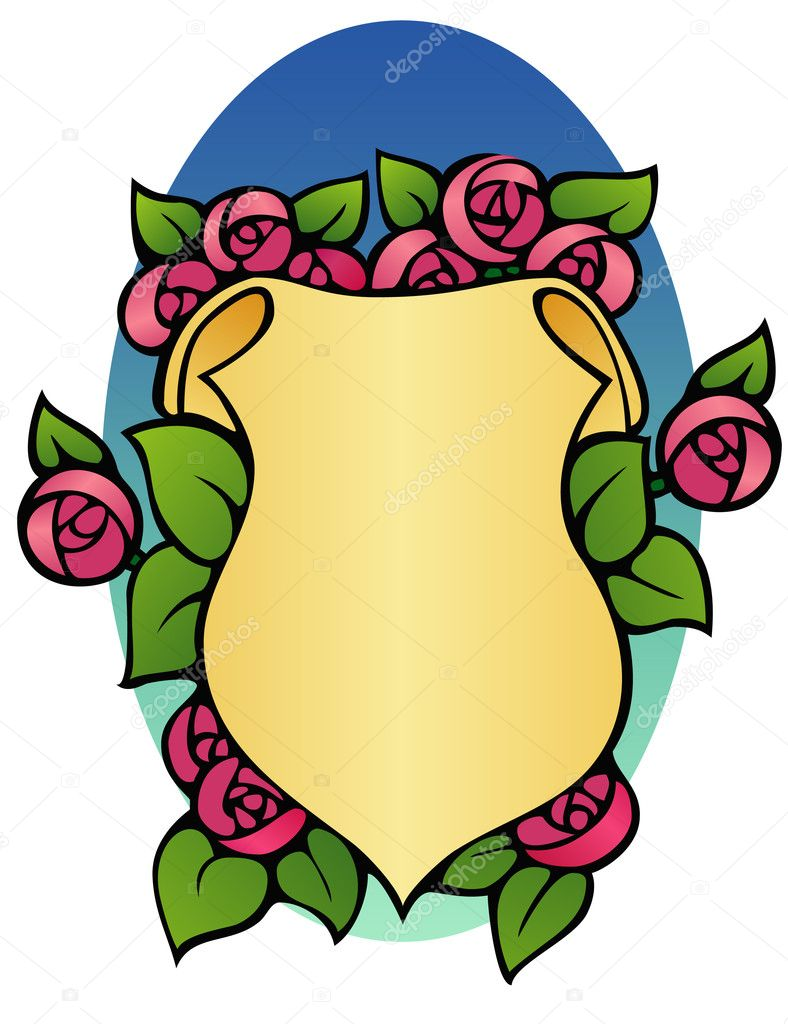 Shield shaped border with peonies.  — Stock Vector #4256392