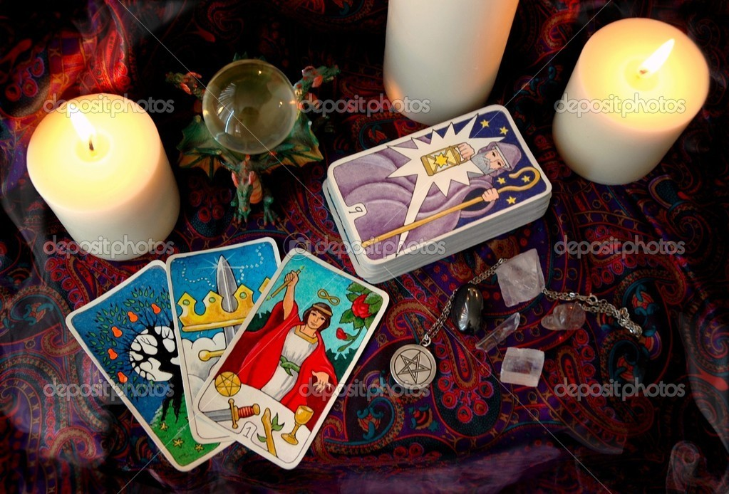 The Hallmark Tarot, and other occult paraphernalia    Stock Photo #4935085