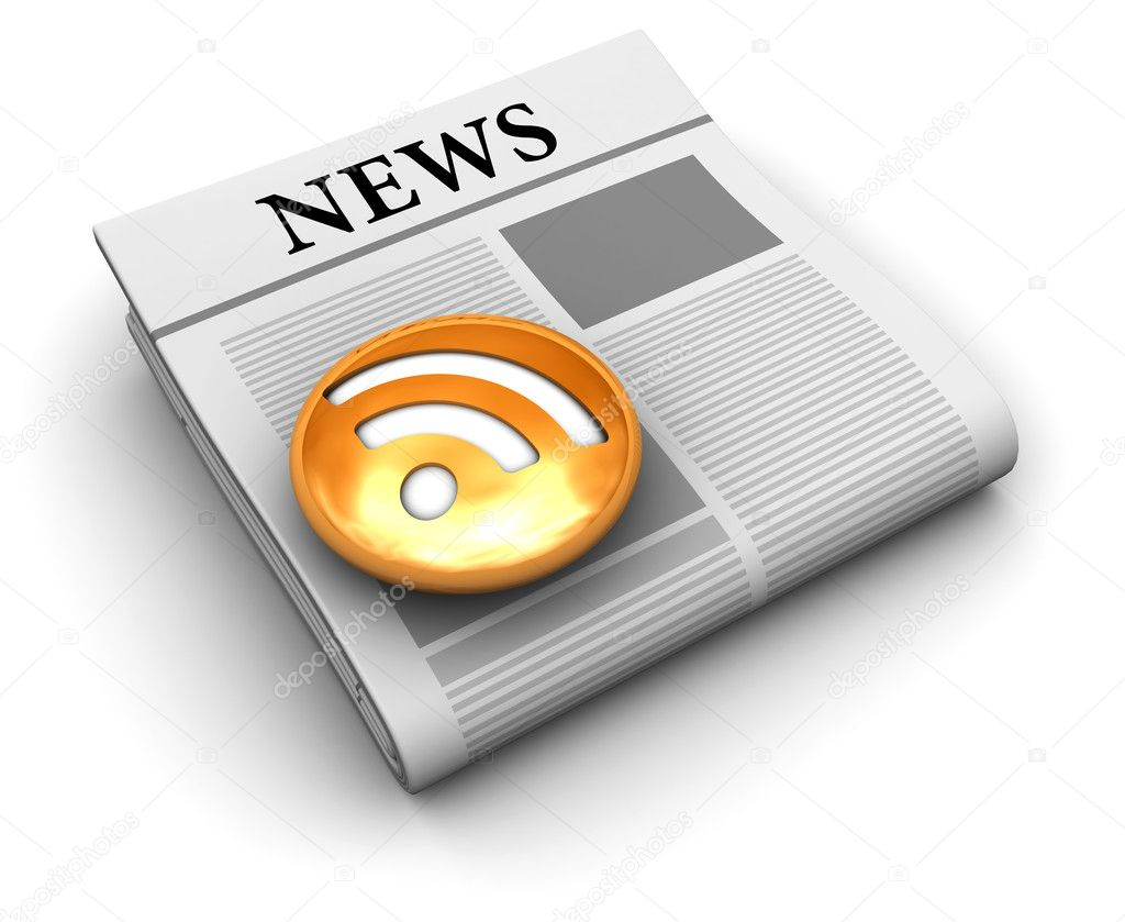 3d illustration of news feed symbol or icon, over white background  Foto Stock #4082774