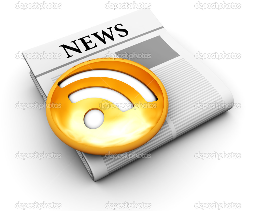 3d illustration of an newspaper with orange rss symbol on it — Stock Photo #4082775
