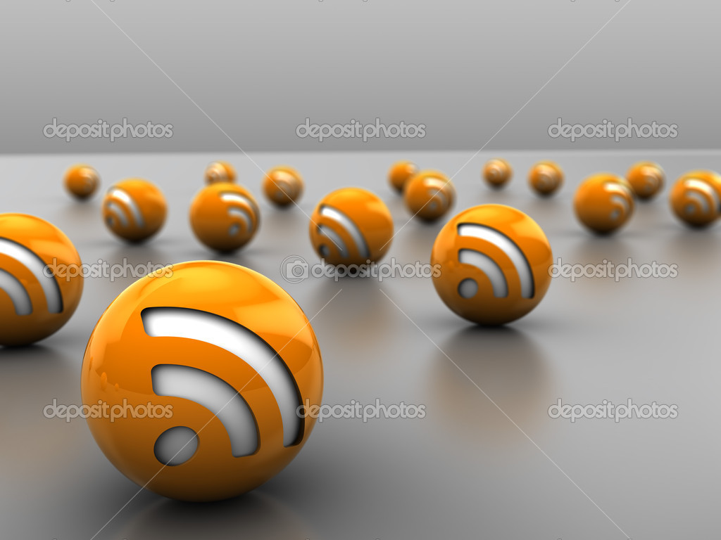 3d illustration of many rss icon balls, over gray background — Stock Photo #4147516