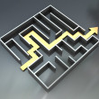 Maze with arrow route - Stock Photo