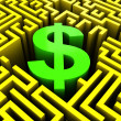 Dollar in maze — Stock Photo