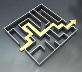 Maze with arrow route — Stock Photo