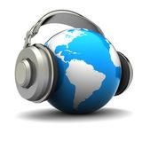 Jorden med hörlurar — Stockfoto